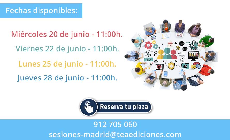 Envía un correo a sesiones-madrid@teaediciones.com - PRESENCIALES Y GRATUITAS