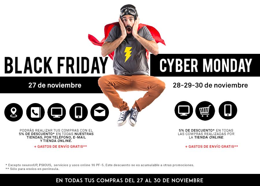 -5% de descuento en todas las compras realizadas del 27 al 30 de noviembre durante el Black Friday y en todas las compras online el Cyber Monday
