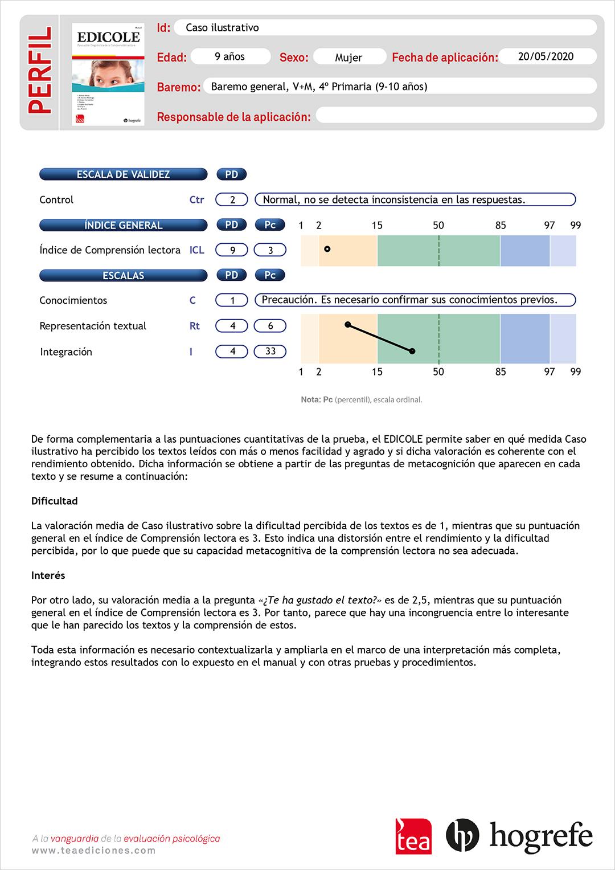Ver perfil de resultados EDICOLE. Evaluación Diagnóstica de la Comprensión Lectora