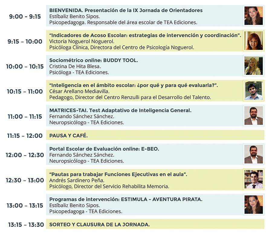 Ver Programa de la IX Jornada de Orientadores de TEA Ediciones