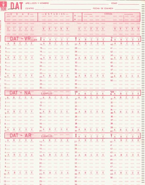 Fig. 16. Hoja de respuestas para corrección mecanizada (1971)